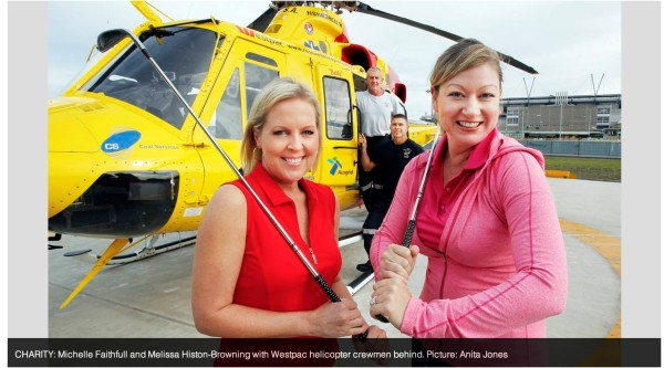 Michelle Faithfull and Melissa Histon-Browning with Westpac helicopter crewmen behind.