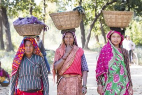 Nepali women with baskets